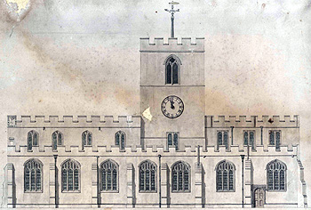South elevation of Cardington church in 1783 [W2/3]